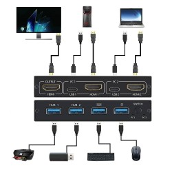 KVM 4K switch splitter - HDMI - USB - shared monitor - with 2 ports