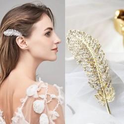 Crystal feather - leaf - hair clip