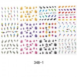 Nail art stickers with feathers - 12 pieces