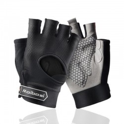 Gym padded gloves - anti-slip silicone grip -with wrist wrap