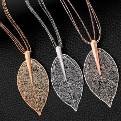 Big crystal leaf pendant - necklace