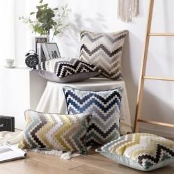 Velvet cushion cover - zigzag pattern - 45 * 45cm / 50 * 50cm / 30 * 50cm