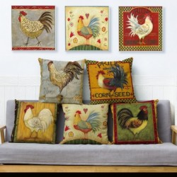 Cushion cover - rooster / chicken vintage design - 45 * 45cm