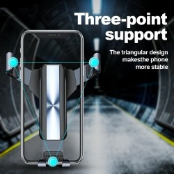 Gravity phone holder - for car air vent - 3 point support - with safety lock