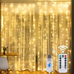 String lights LED - USB - with remote control - window curtains light / decoration