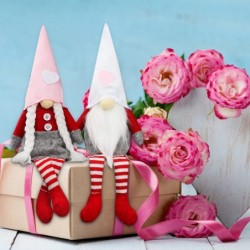 Valentines day long leg gnome - plush doll - 2 pieces