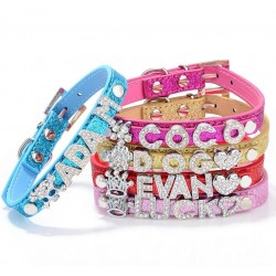 Dog Collar With Name Rhinestone Letters