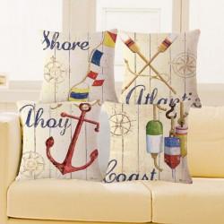 Vintage Marine Pillowcase Cushion Cover Cotton 45 * 45cm