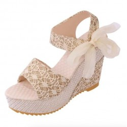 Lace Ribbon High Platform Women's Sandals