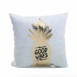 Gold Silver Letters Pillowcase Cushion Cover Cotton 45 * 45cm