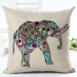 Colorful India Elephant Pillowcase Cushion Cover Cotton 45 * 45cm