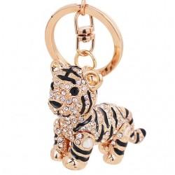 3D Crystal Siberian Tiger Keychain Keyring