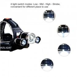 Forehead Headlight Zoom Flashlight Torch 3 XML-T6 LED Lamp