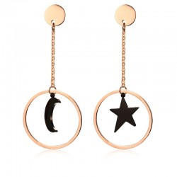 Star & Moon Stainless Steel Long Earrings
