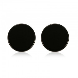 Round Black & Silver Stud Earrings
