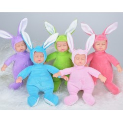 Sleeping Baby Doll Rabbit Plush Stuffed Toy 25cm