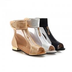 Metal Decoration Mesh Sandals Booties