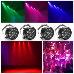 LED Stage Disco Light Projector 12x3W flat RGBW DMX512 Dmx Controller