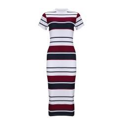 Striped slim pencil dress midi