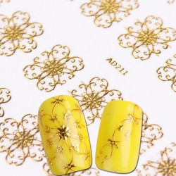3D Gold flower nail stickers