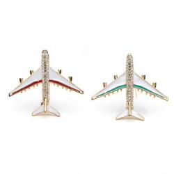Crystal airplane brooch