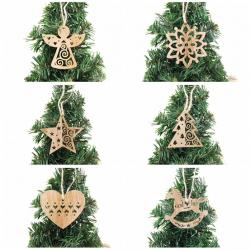 Christmas tree Xmas decoration wooden hollow pendants 6 pcs