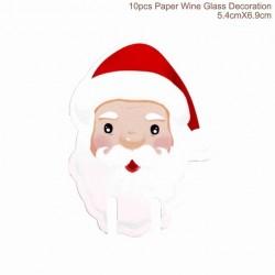 Christmas wine glass paper decoration 10 pcs
