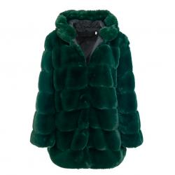 Vintage fluffy hooded jacket elegant long fur coat plus size