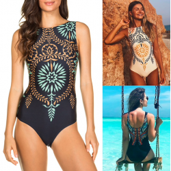One piece swimsuit with push up and tropical design