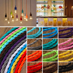 Vintage braided flexible lighting cable wire - cord 1m