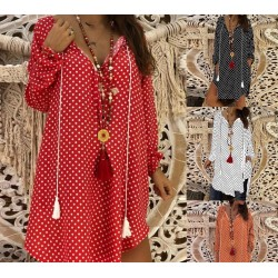 Mini polka dot dress with long sleeve