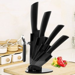 Ceramic knives set - peeler - holder