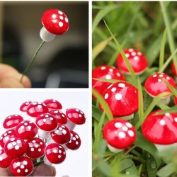 Garden decoration - mini red white dot mushrooms 2cm 10 pcs