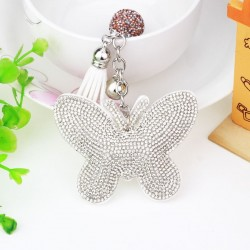 Crystal & leather butterfly - keychain