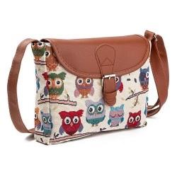 Printed Owls - crossbody shoulder small bag