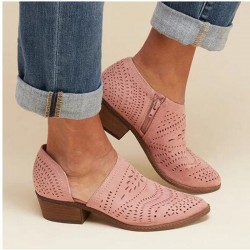 Hollow out - leather ankle boots