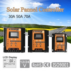 12V 24V 30A 50A 70A MPPT - solar charge controller - solar panel battery regulator- dual USB LCD display