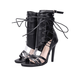 High heel ankle sandals with buckle strap & laces