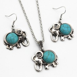 Necklace & earrings with antique blue elephant - jewellery set