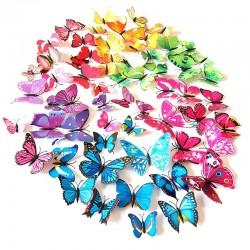 3D butterflies wall stickers - fridge magnets - 12 pieces