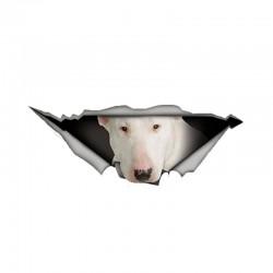 White Bull Terrier - vinyl car sticker - waterproof - 13 * 4.9cm