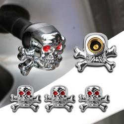 Skull Car Bike Tire Air Valve Cap 4 pcs
