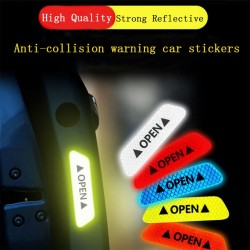 OPEN - anti-collision warning stickers for car doors - reflective 4 pieces