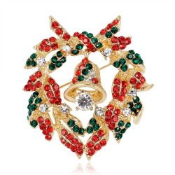Christmas colorful crystals brooch