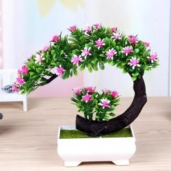 Japanese pink & purple flowers - artificial bonsai pot
