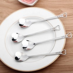 Heart shaped stainless steel teaspoons for tea & coffee & desserts 10 pieces