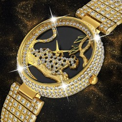 Luxury fashion gold watch with leopard & diamonds