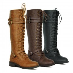 Leather women's boots - lace up & zipper & buckles - winter - autumn