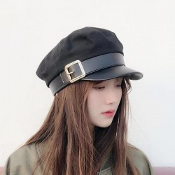 Fashion cap with leather visor & belt